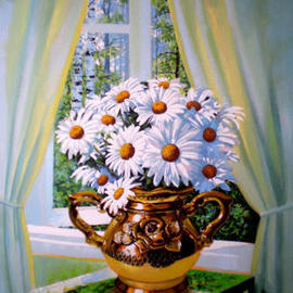 Sergey Puzirchenko Artwork Flowers of camomile, 2011 Oil Painting, Floral