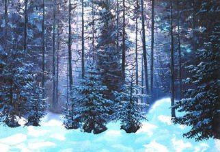 Trees Oil Painting by Sergey Puzirchenko Title: Winter forest, created in 2011