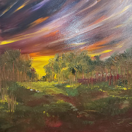 Uma Singh: 'and the sun sleepshere', 2018 Oil Painting, Landscape. Artist Description: Painting, Oil Coloron CanvasBiafarin Artwork Code: AW127496776The sunsets over the valley are ethereal - the myriad of colors are fascinating and almost one is quite hypnotized into imagining the lullaby being sung by the the sky for the sun to sleep . This work is a captured ...