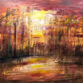Uma Singh: 'good morning', 2017 Oil Painting, Landscape. Artist Description: Painting, Oil Coloron CanvasBiafarin Artwork Code: AW127127934I have used oil colors , brush, knifeover canvas to expressthe warmth of the rising sunas experienced . The positivity the red and yellow glow brings with it melting the darkness away is a hard emotion to define. ...