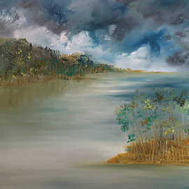 Uma Singh: 'paradise', 2021 Oil Painting, Landscape. Artist Description: Painting, Oil Coloron Canvas2020Biafarin Artwork Code: AW127481918Somewhere up in the hills exists a paradise I intend to visit again .Oil on canvas along with dreams and memories. ...