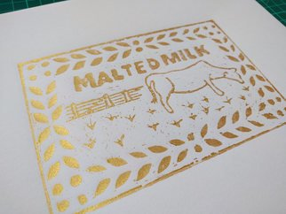 Nicola Barnes: 'malted milk', 2017 Paper, Food. Artist Description: The glorious malted milk biscuit. Lino print in gold ink on Japanese Simili paper. ...