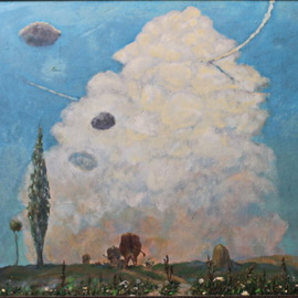 Leo Karnaukhov: 'К вечеру', 1976 Oil Painting, Clouds.