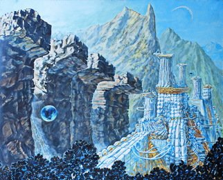Leo Karnaukhov: 'china valley dreams', 2012 Oil Painting, Fantasy. Artist Description: The scenery of the mountainous area, city...