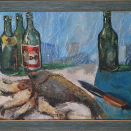 Leo Karnaukhov: 'nanuremorte', 1965 Oil Painting, Still Life.