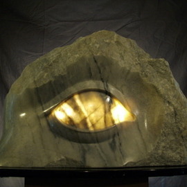 Depasquale Sculptures: 'Of the Light', 2010 Stone Sculpture, Abstract Figurative. Artist Description:  The lamp of the body is the eye. The vision of this sculpture emulates, ( of the light) , the righteous part in each and everyone of us.By dishing out the back side of the eyeball itself, I was able to create the fourth dimension of light which permeates ...