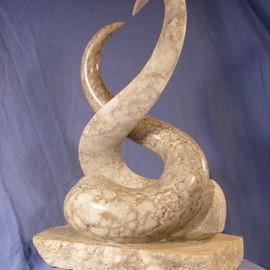 Depasquale Sculptures: ' The Kiss', 2010 Stone Sculpture, Abstract Figurative. Artist Description:  Signed original by dePasquale, accompanied with Certificate of AuthenticityThis abstract sculpture utilizes the teardrop form. Leonardo da Vinci said the teardrop is one of the most dynamic forms because the tip and the round bottom are two opposing shapes in one unifying form. Nonetheless, this sculpture represents man ...