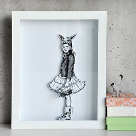 Aleksandar Janicijevic Artwork girl with bunny ears, 2014 Pen Drawing, Activism