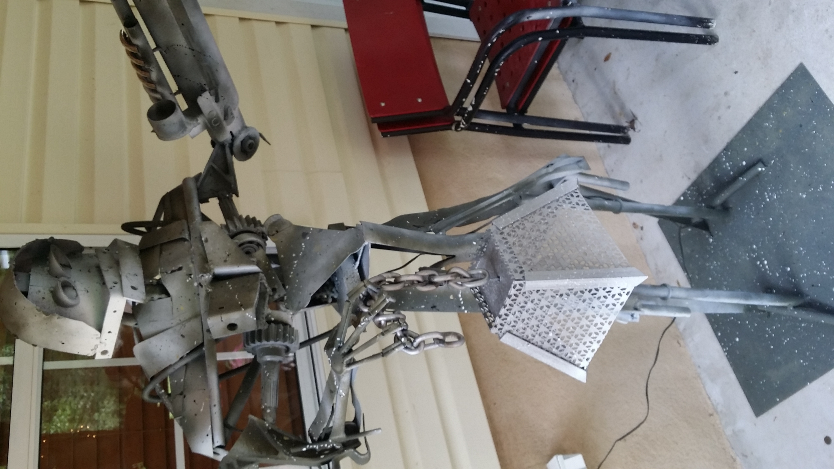 Julian Allegro Artwork 6ft Lifesize Steel Robot Lamp With