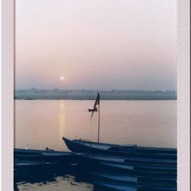 Ush Hazra: 'river boats', 2009 Color Photograph, Boating.