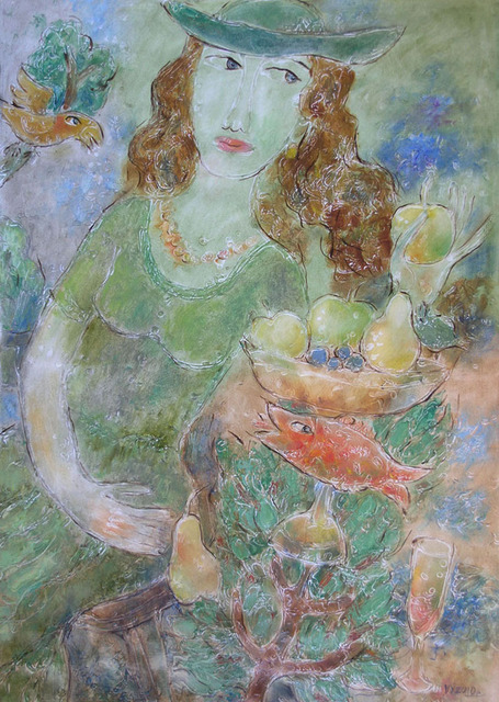 Yevmenenko Valentina  'The Lady In The Green', created in 2010, Original Painting Oil.
