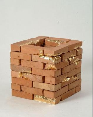 Valentina Savic: 'a Castle', 2002 Ceramic Sculpture, undecided. Artist Description: instalation from bricks glased and painted gold...