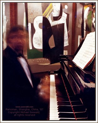Michael Seewald Artwork Pianoman, Shanghai, China by master photographer Michael Seewald, 1987 Color Photograph, Abstract Figurative