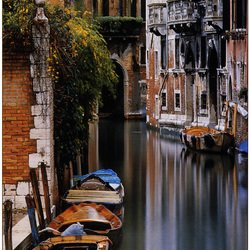 , Canal Reflections, Venice, Cityscape, $135