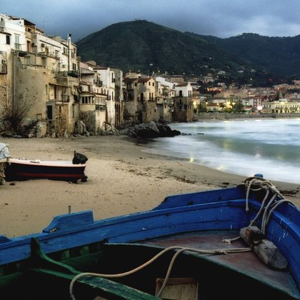 , Boats On Shore, Cefalu, S, Seascape, $3,150