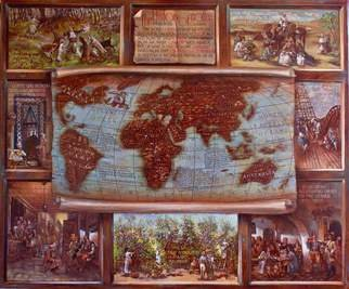 Vali Irina Ciobanu: 'The history of coffee map ', 2016 Tempera Painting, Maps. Artist Description:  Coffee map, history of coffee, coffee, map, miniatures, painting, vali irina ciobanu, painting coffee, cofee map, history   ...