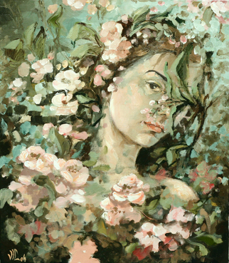 Vali Irina Ciobanu Artwork portrait with apple flowers, 2008 Oil Painting, Portrait