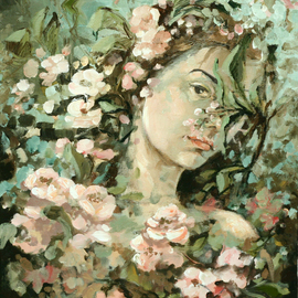Vali Irina Ciobanu Artwork portrait with apple flowers, 2008 Oil Painting, Portrait