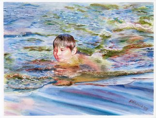 Natallia Valiukevich: 'again the summer', 2018 Watercolor, Children. Artist Description: portrait watercolor water child floats people sea summer boy happy waves...