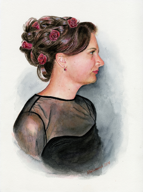 Natallia Valiukevich  'Self Portrait', created in 2018, Original Watercolor.