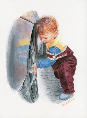 Natallia Valiukevich: 'this wheel needs repair', 2018 Watercolor, Children. Artist Description: watercolor portrait child car baby repairing pavement reflection people...
