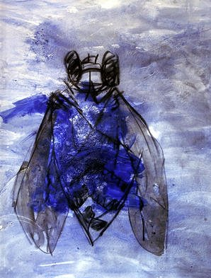 Animals Mixed Media by B� Van Der Heide Title: Blue Insect, created in 1997