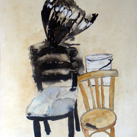 B� Van Der Heide: 'Chair and Moth', 2007 Acrylic Painting, Figurative. Artist Description:  Part of the' Dance of the transient forms' series ...
