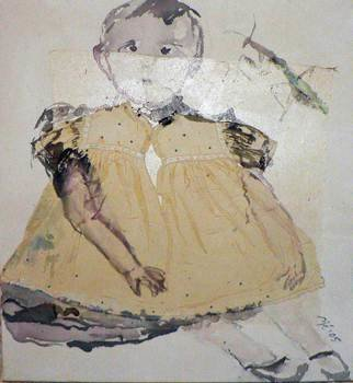 B� Van Der Heide: 'Little Guardian', 2013 Acrylic Painting, Figurative.  In the 'Clearing out the Attic' series.Little girl portrait. ...