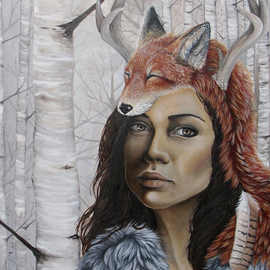 Vanessa Hughes: 'The Huntress', 2012 Oil Painting, Portrait. Artist Description:   20 x 24 oil on panel, varnished       ...