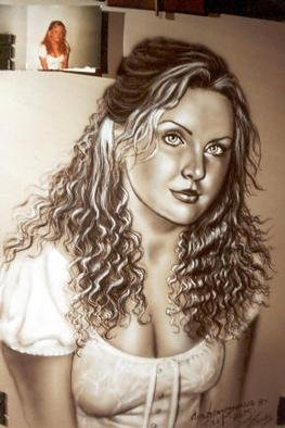 Giovan Beck: 'portrait', 2001 Other Painting, Portrait. Black& white Freehand AIRBRUSHING....