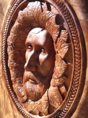 Daniel Holtendorp: 'Henry Nola', 2014 Wood Sculpture, Life. Artist Description:    wood figure carving. togetherness, all humans as one. Green Man of the Woods.  ...
