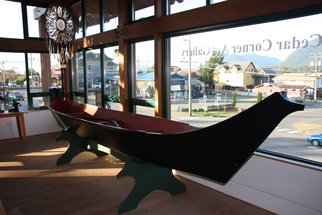 Wood Sculpture by Daniel Holtendorp titled: Wolf Whale Canoe, 2014