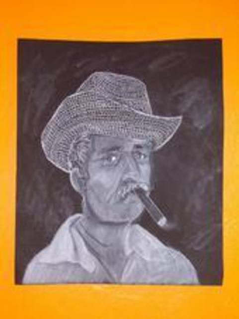 Kelly Doman  'Cuban Man With Cigar', created in 2008, Original Drawing Charcoal.