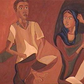 Vasanthi Victor: 'Woman and Man', 2004 Oil Painting, Figurative. Artist Description:  First of the couple series....