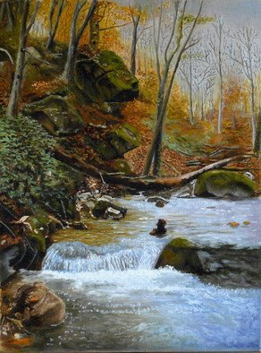 Artist: Vasily Zolottsev - Title: Autumn in Caucasus  The river Skakuha - Medium: Oil Painting - Year: 2008