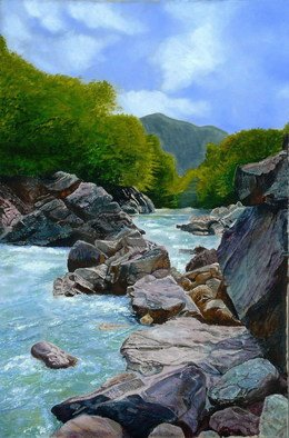Painting by Vasily Zolottsev titled: LagoNaki  The river Tsitsa, created in 2008