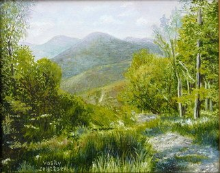 Painting by Vasily Zolottsev titled: Mountain track  An etude, created in 2009
