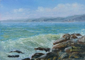 Vasily Zolottsev: 'The Black Sea  Summer  An etude', 2009 Oil Painting, Marine.   The Black Sea at Tuapse in Russia.     ...