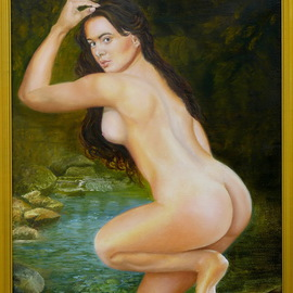 Vasily Zolottsev: 'The bather', 2013 Oil Painting, nudes. Artist Description:   Bather, Woman, river, forest, stones   ...