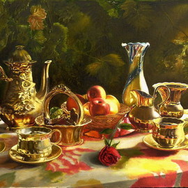Vasily Zolottsev: 'The memories Tea together', 2008 Oil Painting, Love. Artist Description:  There is something to recall to two people, sitting in a shady arbour and drinking tea.I can paintan author's repetition. ...