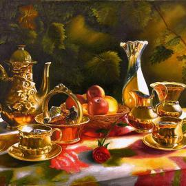 Vasily Zolottsev: 'The memories Tea together', 2010 Oil Painting, Still Life. Artist Description:   There is something to recall to two people, sitting in a shady arbour and drinking tea. . .  ...