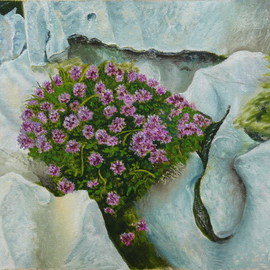 Vasily Zolottsev: 'Triumph of life', 2008 Oil Painting, Still Life. Artist Description:  Plot from a nature.Even in naked rocks the life makes the way and it is symbolical, that in the form of a bunch of flowers. ...