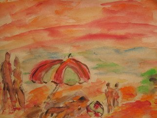 Vasilije Popov Artwork The beach, 2010 Watercolor, Mystical