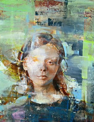Vasil Vasilev: 'her dream', 2018 Acrylic Painting, Conceptual. Artist Description: A beautiful,  woman s face . . . looking at you and sending out messages. Original...
