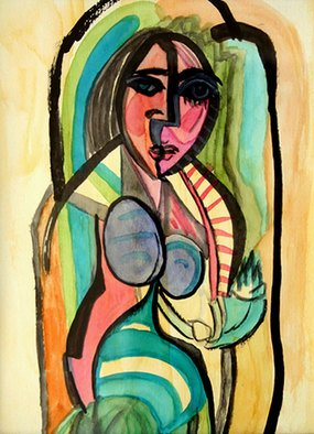 Artist: Vanessa Bernal - Title: Madonna without child - Medium: Watercolor - Year: 2006