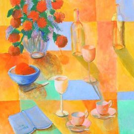 Veronica Brutosky: 'Still LIfe yellow, blue, green', 2009 Acrylic Painting, Still Life. Artist Description: The semi- abstract background of wall, table top and cloth are in rich yellows, blues, and greens. The assortment of wine glasses, cups and saucers, fruit bowl, and an open book lying there give the viewer a sense of hospitality and warmth and friendliness.      ...