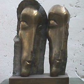Venelin Ivanov: 'Two faces', 1979 Bronze Sculpture, Figurative. Artist Description: 0...