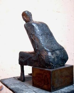 Venelin Ivanov: 'seated woman', 1982 Bronze Sculpture, Figurative.