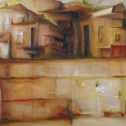 , Village 3, Abstract Landscape, Sold