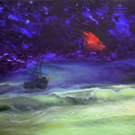 Sergey Lutsenko: 'Ghost', 2016 Oil Painting, Surrealism. Artist Description: Ghost. This painting is made in the style of fusion. It comprises of heavy and deep violet color which is softened by malachite green shades. There is no clutter of objects or variety of colors. Many hours were spent in search of the correct shade of raspberry red, ...